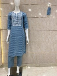 Cotton Kurti plazzo With Print And Silver Work