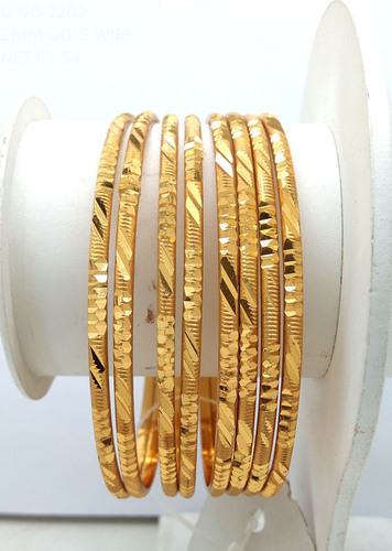 Simple Design Gold Plated Shagun Bangle For Women