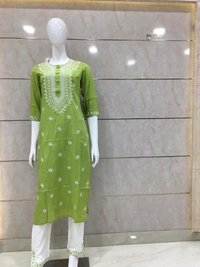 Rayon Kurti Plazzo And Printed With Douts Design