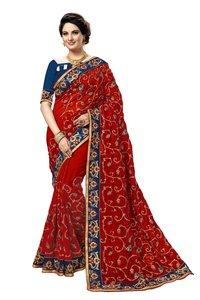 embroidered satin silk saree collection
