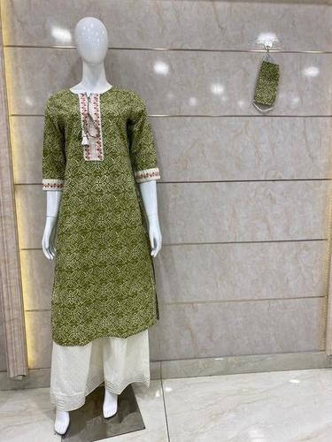 Kurti Plazzo with printed and white border less