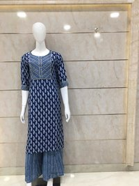 Kurti Plazzowith Print And Silver Work