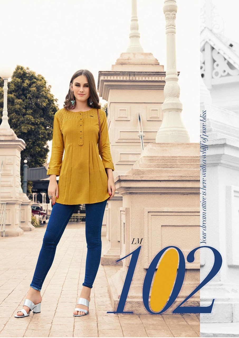 Esteem LYMI Launch Rayon Flex Schiffli Kurti Top
