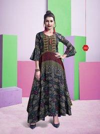 Fabfirki Launch Akansha Chanderi Digital Prints Kurtis