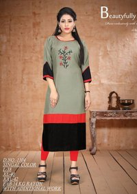 Fabfirki Presents Rayon Embroidery Size set kurtis Collection
