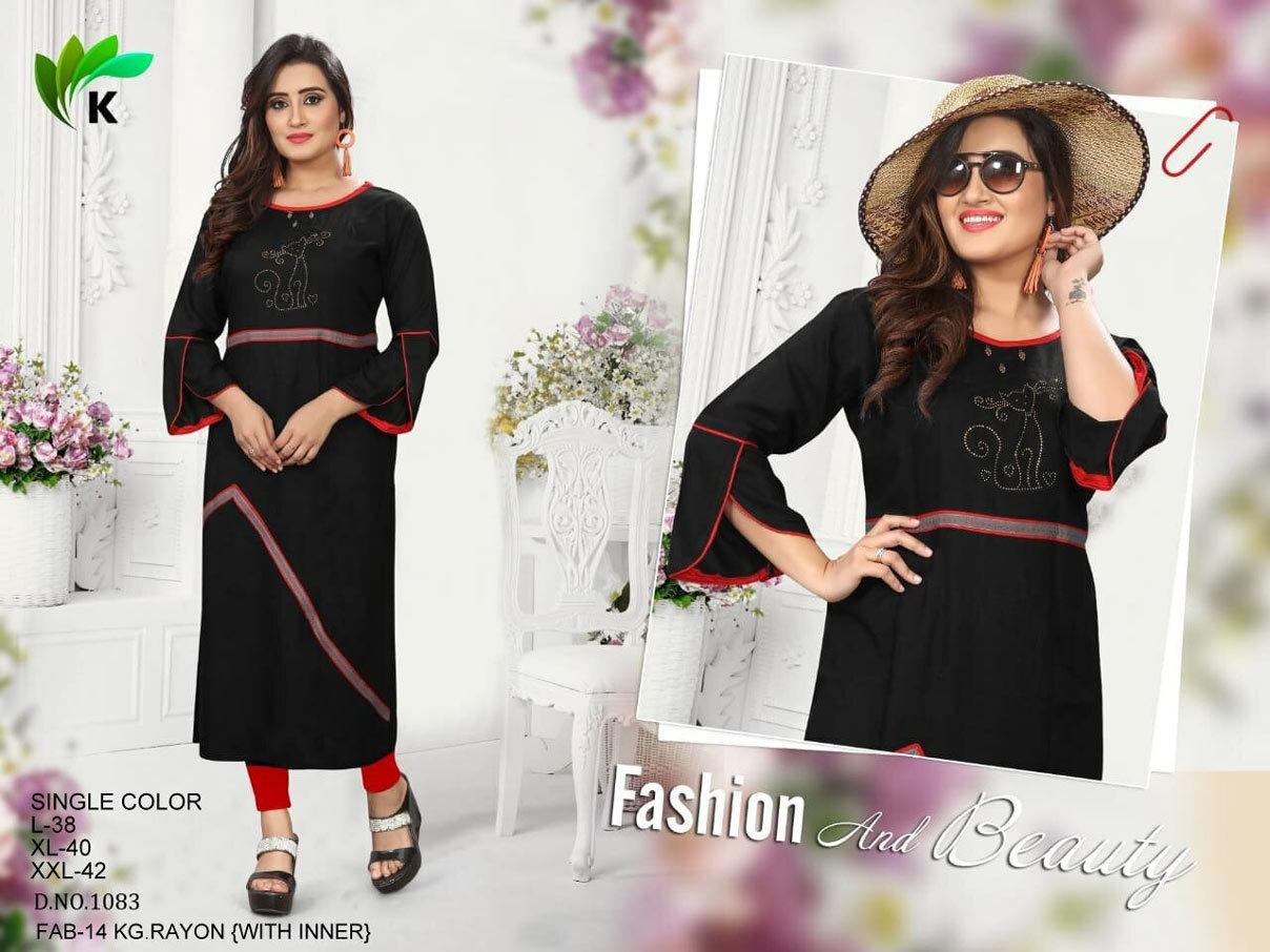 Fabfirki Presents Rayon Embroidery Size set kurtis Collection