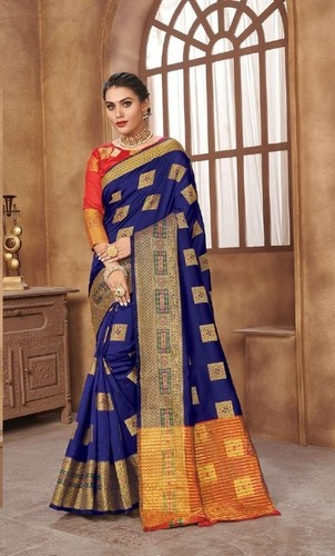 Gorgeous Blue Zari Border Saree.