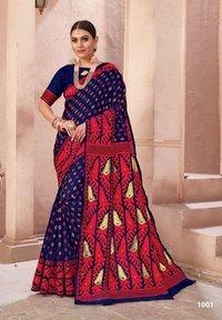 Stylist Red Cotton Silk Banarasi Saree