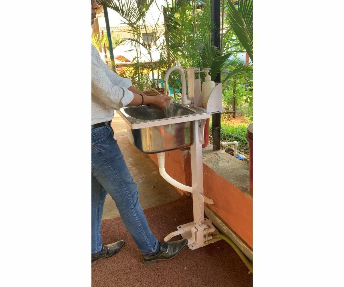Foot Operated Washbasin & Soap Dispenser