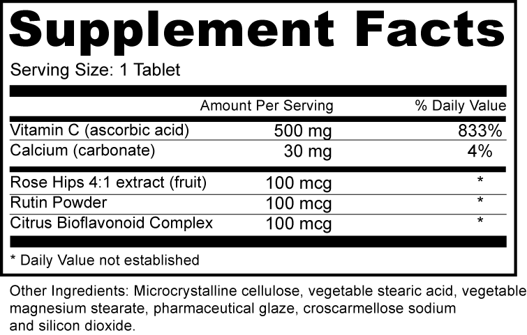 Vitamin C 500MG with Rose Hips Tablets/ Capsules (Third Party Manufacturing)