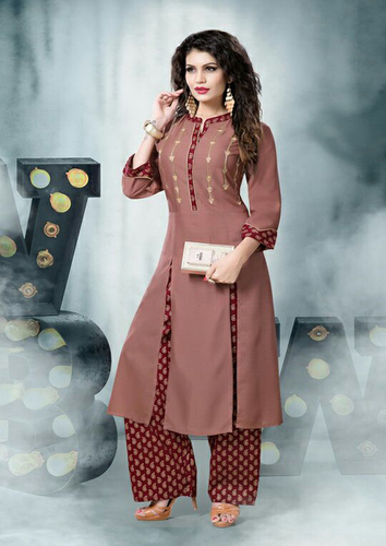 Fabfirki Presents Rayon jeckad Kurtis with Palazzo Four Size Set Collection