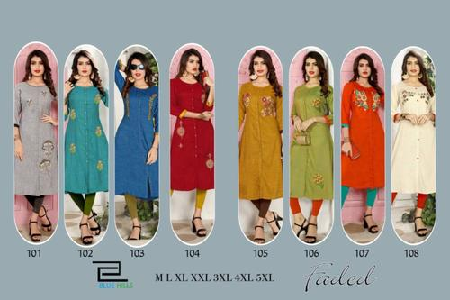 Faded Rayon Wholesale Kurtis Catalog