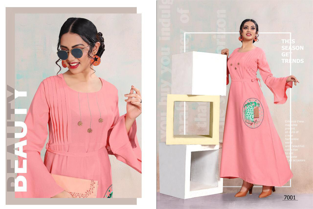 Falguni 4u Fashion Rayon Flex Embroidery Kurti Traders