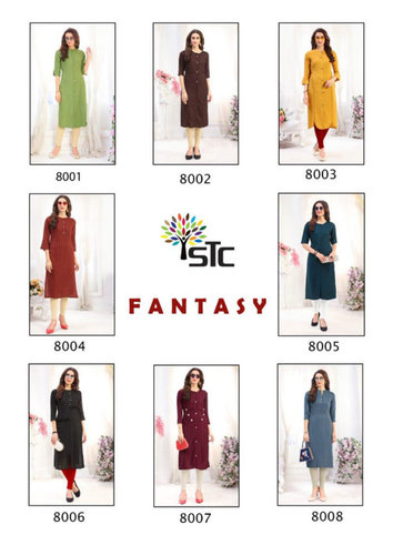 Fantasy Rayon Lining Wholesale Kurti Set