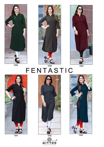 Fantatisc Mittoo Plain Straight Design Wholesale Kurti