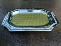 Aluminum Oval Mother Of pearl Serving Tray