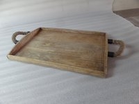 Wooden Serving Tray with Rope handle