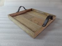 Wooden Tray with Leather handle