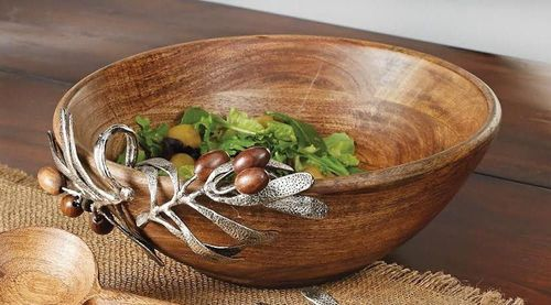 Wooden Bowl with aluminum Olive Branch