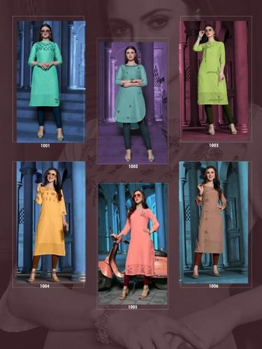 Fashion Grass Viscose Cotton Kurti Apparel