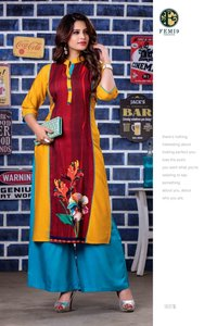 Femi9Trends Designer Velvet Vol-2 Straight Palazzo Kurti