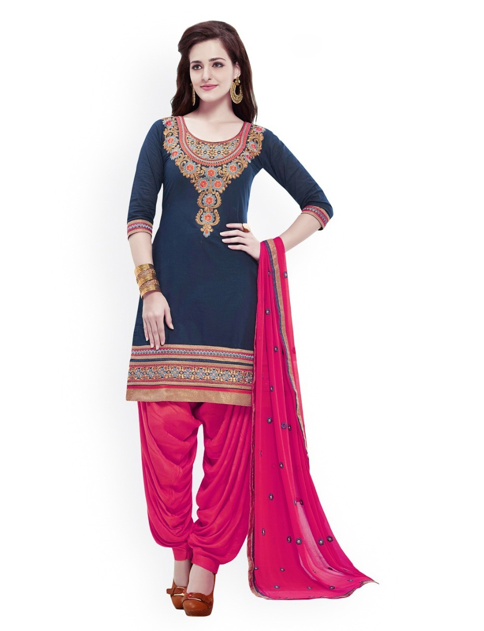 Cotton & Rayon embroidered Unstitched Salwar Suit