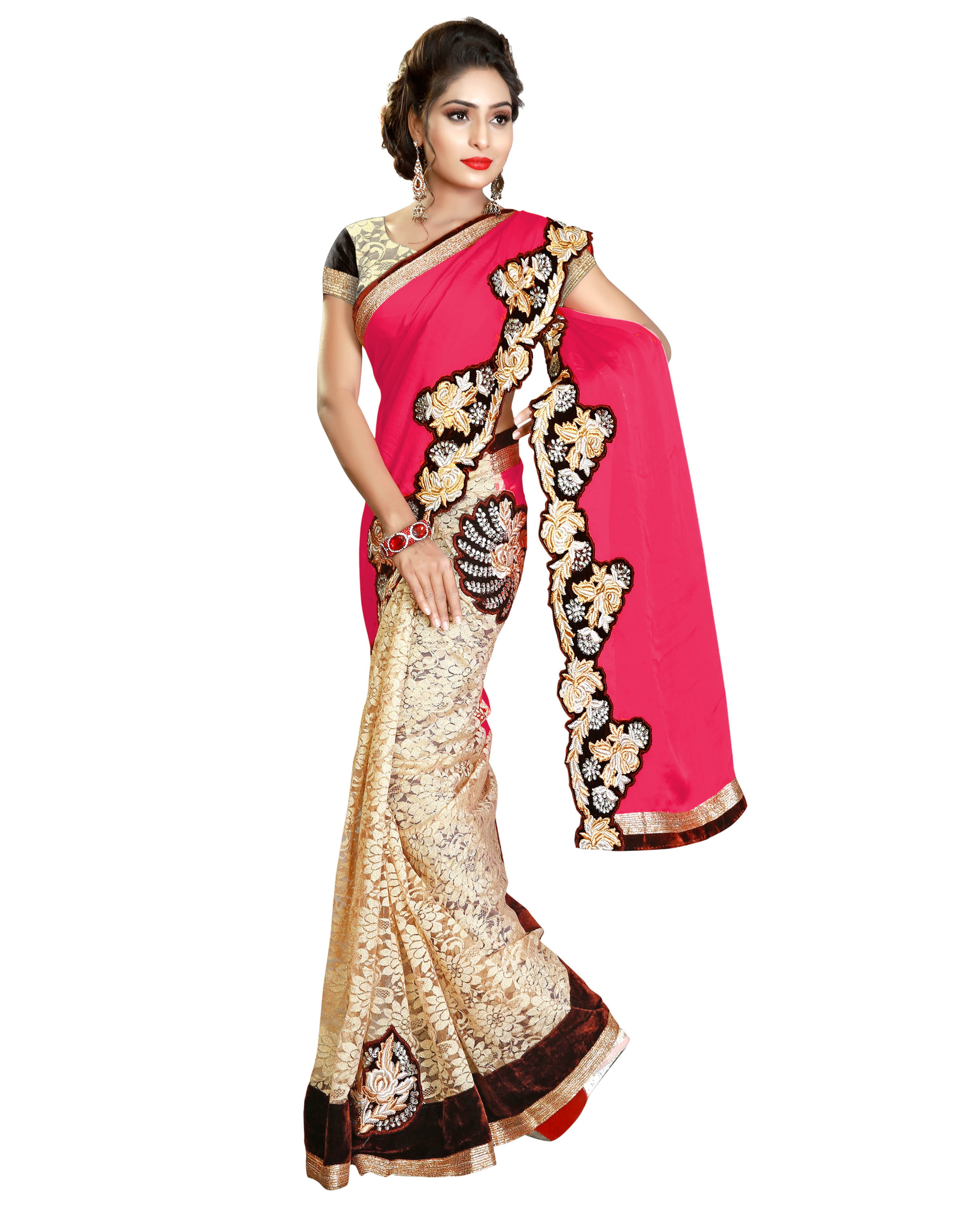 Satin & Rasal net Half N Half Embroidery saree Collection
