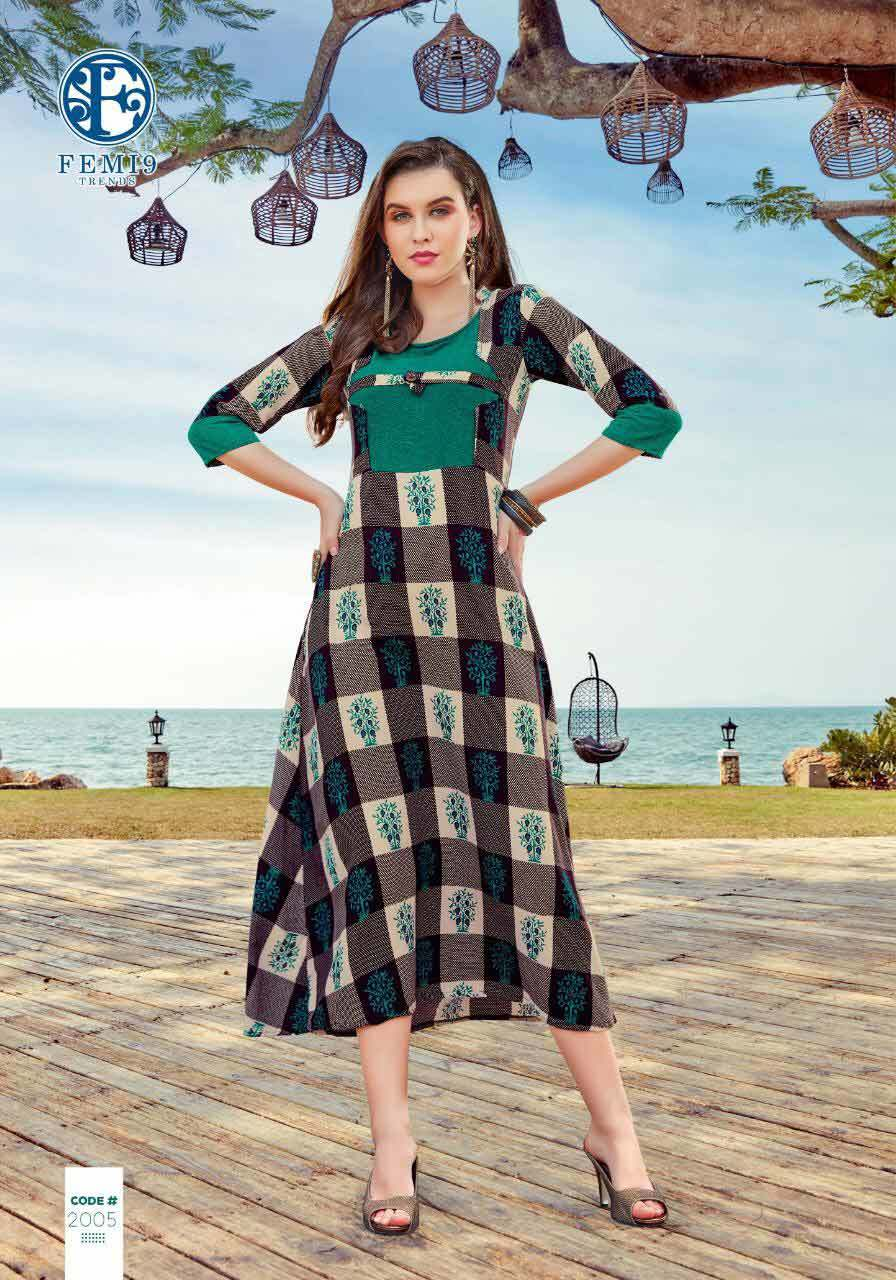Fizzah Vol-2 Femi9trends Print Embroidery Kurtis Set