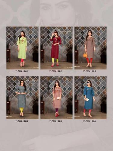 Fizzle Banwery Straight Silk Handwork Kurti Sets
