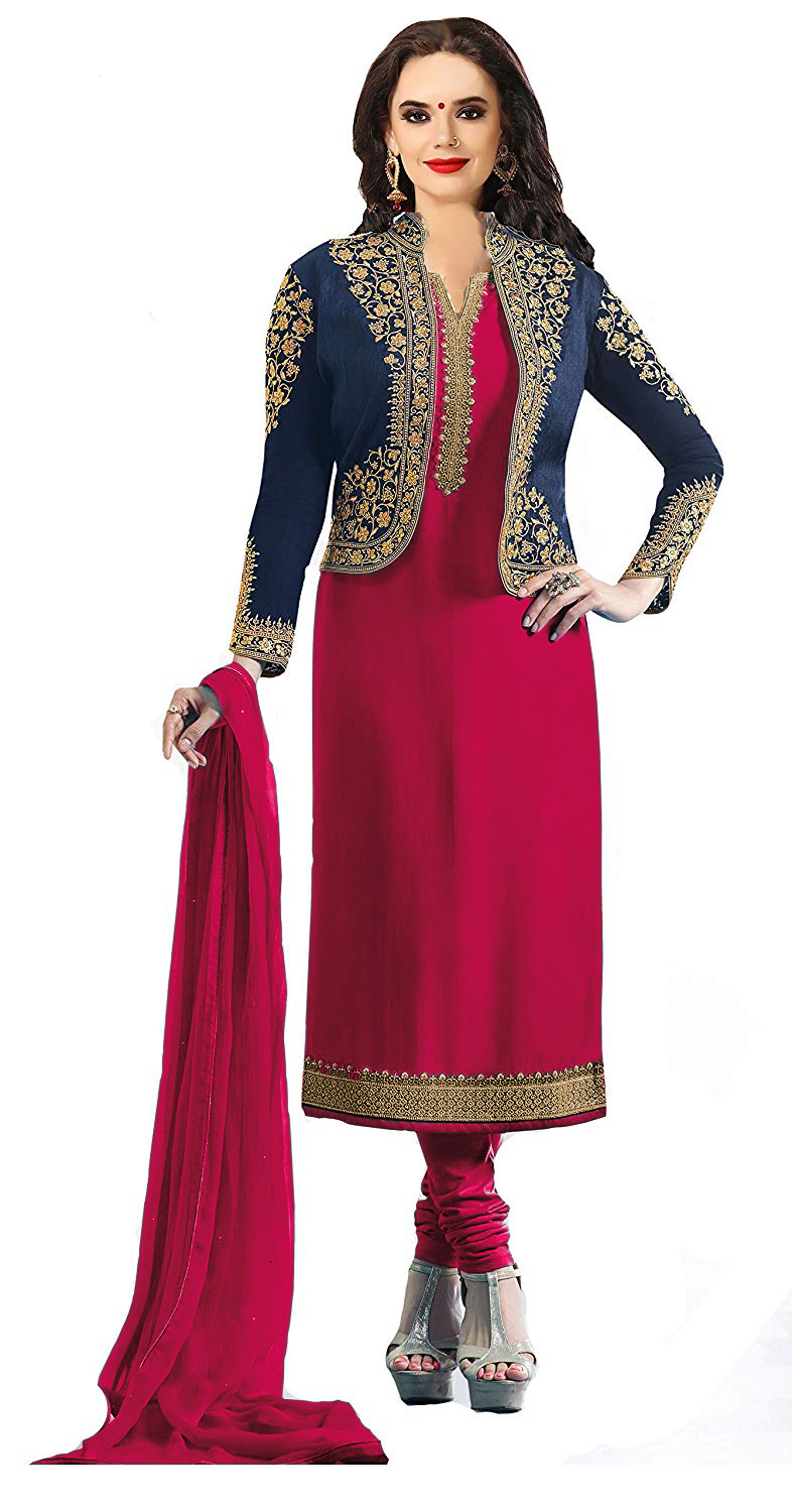 simple embroidered Georgette unstitched salwar suit