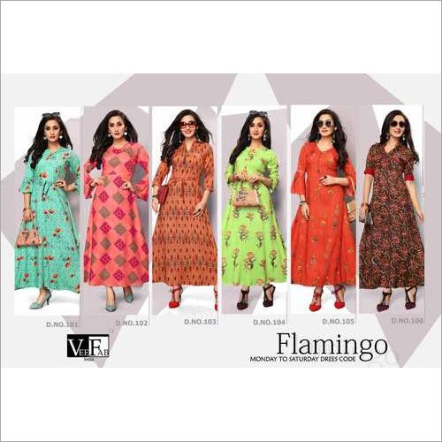 Flamingo Veefab Rayon Print Wholesale Kurti