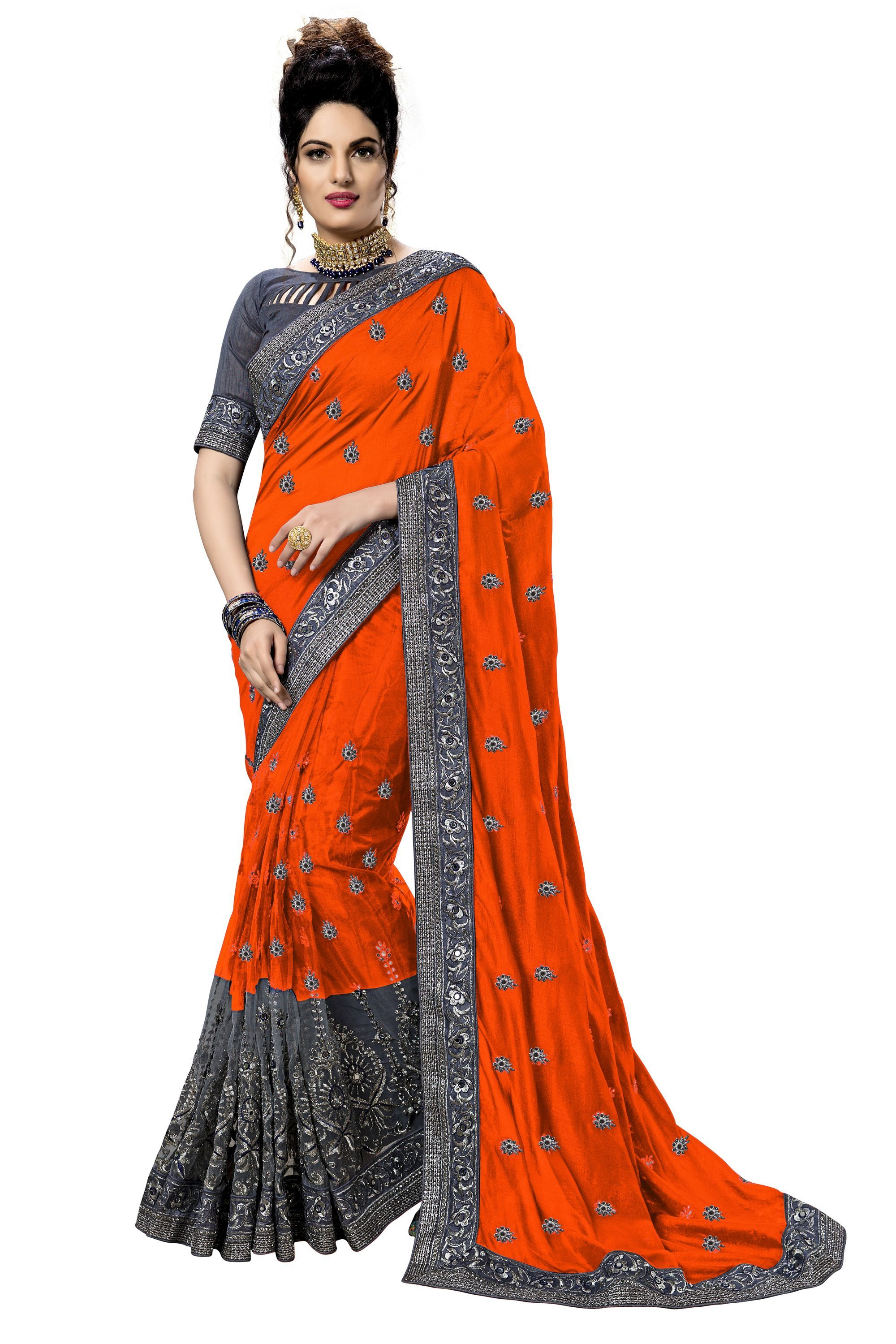 embroidered satin,net saree collection