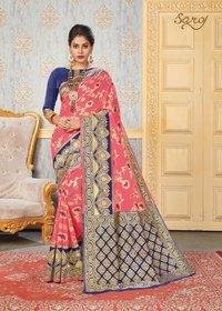 Cotton Silk Jequard Chitt Pallu Saree
