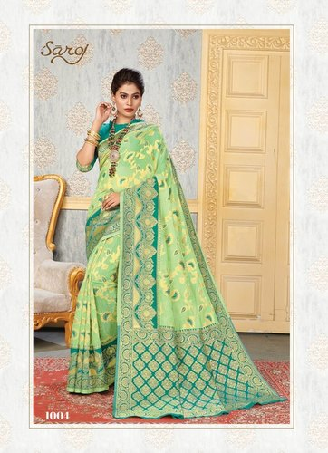 Cotton Silk Jequard Chitt Pallu Saree