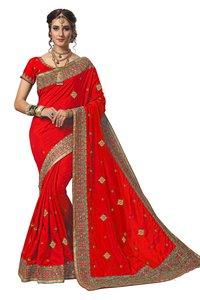 geometric design embroidered silk saree collection