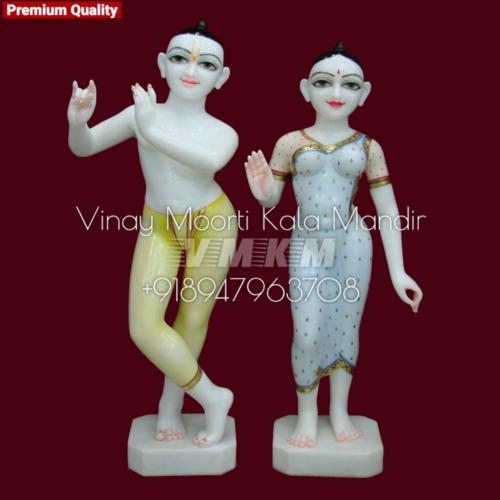 White Marble Iskcon Radha Krishna Idols