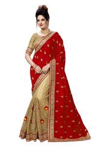 embroidered satin half and half saree collection