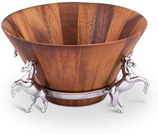 Wooden Bowl with Aluminum Stand