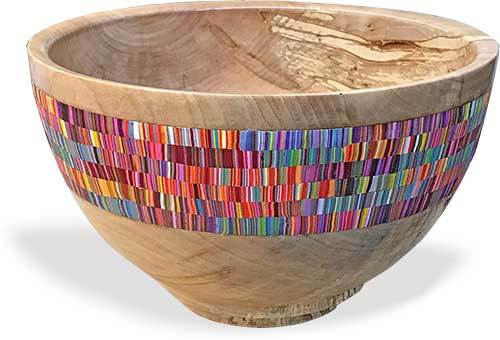 Wooden Bowl with Colorfull Design