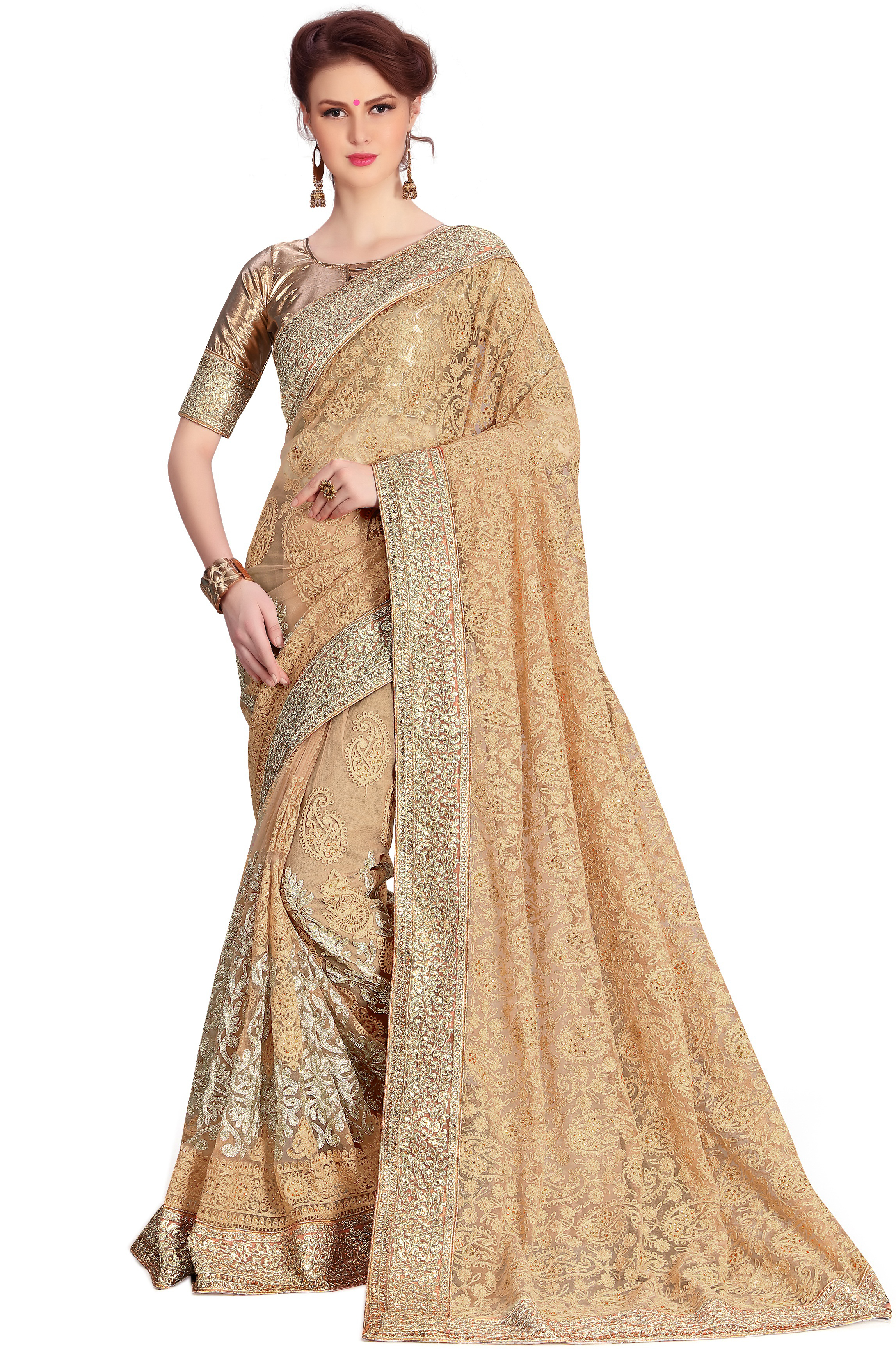 unique  embroidered net saree collection