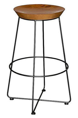 Wooden Top Bar Stool with Iron Legs