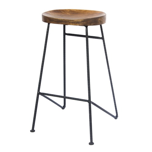 Mango Wood Saddle Seat Bar Stool With Iron Rod Legs