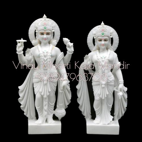 Makrana Marble Vishnu Laxmi Idols