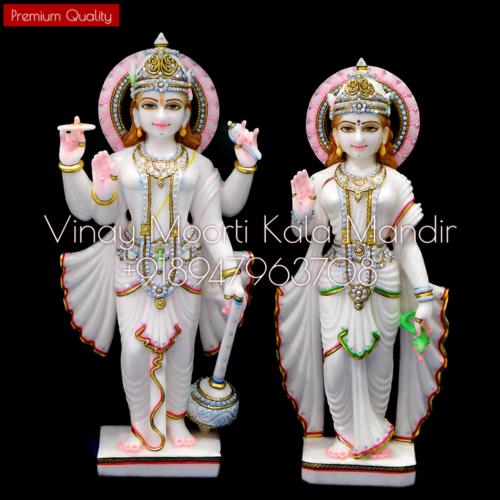 Makrana Marble Vishnu Laxmi Idol