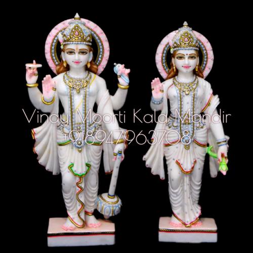 Vietnam Marble Vishnu Lakshmi Statue