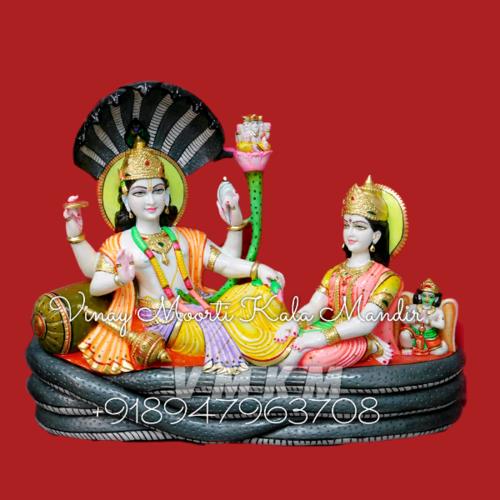 Vishnu Lakshmi Seating Marble Statue