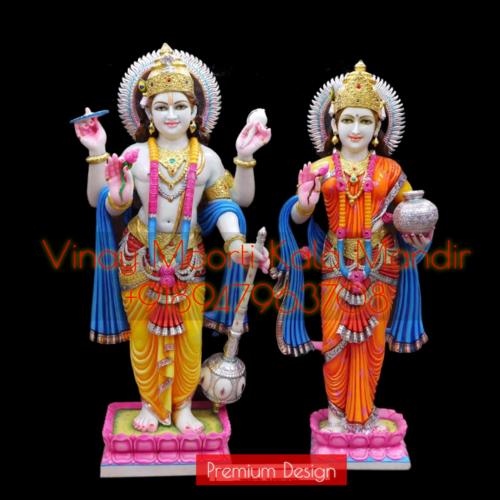 Vishnu Lakshmi Marble Murti