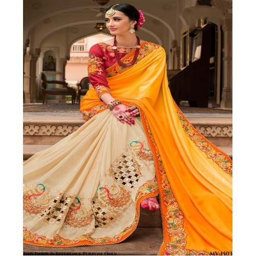 Yellow Paper Silk Embroidery work Saree