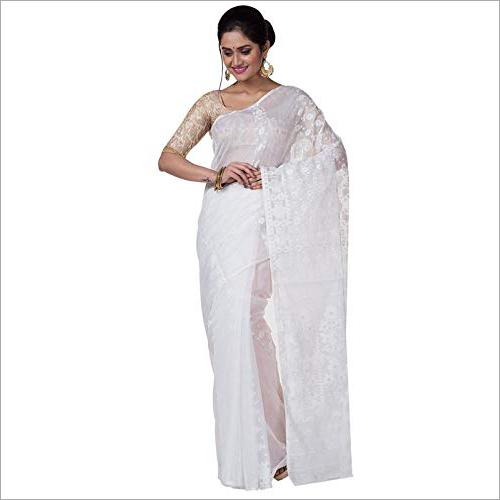 Cotton White Saree