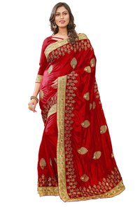 heavy embroidered & embellished work silk saree collection